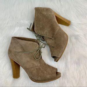 Ann Taylor Loft Suede Peep Toe Heel Ankle Boot 8.5